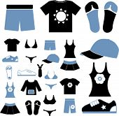 summer clothes, vector illustration, signs, symbols, icons