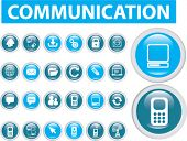 20 communication buttons, icons, signs, vector illustrations
