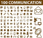 100 communication icons, signs, vector illustrations
