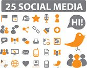 25 social media icons, signs, vector
