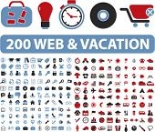 200 web & vakantie pictogrammen, illustraties, vector