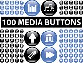 100 glossy media buttons, icons, signs, vector illustrations