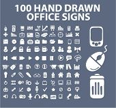 100 hand drawn office icons, signs, illustration, images, vector