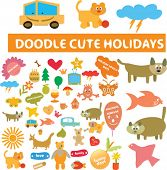 doodle cute holidays icons, signs, vector illustrations