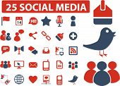 25 social media icons, signs, vector illustrations
