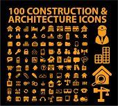 100 construção & ícones da arquitetura, sinais, ilustrações de vetor
