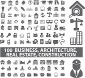 100 Business & Architektur, real Esate, Bau, Symbole, Zeichen, Vektor-illustration