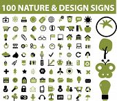 100 nature design icons, signs, vector illustrations