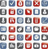 square glossy business buttons, icons, signs, vector illustrations