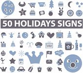 holidays icons set, vector illustrations