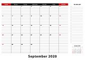 September 2020 Monthly Desk Pad Calendar Week Starts From Sunday, Size A3. September 2020 Calendar P poster