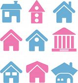 stock photo of outhouses  - houses icons set - JPG