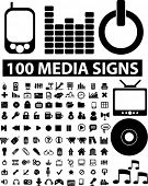 100 media iconos set, vector