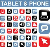 tablet & phone buttons, icons set, vector