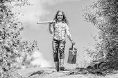 Gardening Guide For Beginners. Gardening Tips. Spring Gardening. Girl Child Hold Shovel Watering Can poster