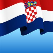 Croatian Flag Wavy Abstract Background. Vector Illustration. poster