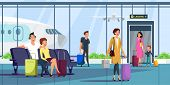 People At Airport Terminal Flat Illustration. Men And Women With Baggage Arriving, Waiting For Depar poster