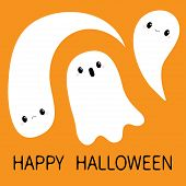 Three Flying Ghost Spirit Set. Boo. Happy Halloween. Scary White Baby Ghosts. Cute Cartoon Spooky Ch poster