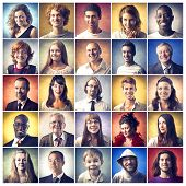stock photo of nerds  - Composition of diverse people smiling - JPG