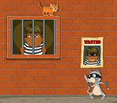 illustration of a theif in jail on a white background - EPS VECTOR format also available in my portfolio.