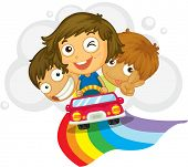 Illustration of kids driving in a car - EPS VECTOR format also available in my portfolio.