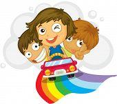 Ilustração de crianças dirigindo um carro - formato VETORIAL EPS também disponível na minha carteira.