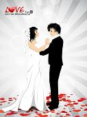 Abstract background with new married couple dancing on rays background. EPS 10. Vector illustration.