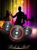 Party night background with dancing people silthoette and speakers, can be use as flyer, banner or poster for discotheque, party and other events. EPS 10. Vector illustration.