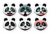 Panda Emoticon Or Bear Heads Vector Set. Pandas Big Bear Face Emojis In  Hungry And Angry Expression poster