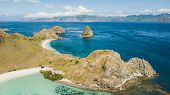 Aerial Panoramic View Of Padar Island In Komodo National Park, Indonesia. Drone Shot, Top View. Gree poster
