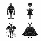 Isolated Object Of Creature And Devilry Sign. Set Of Creature And Halloween Stock Symbol For Web. poster