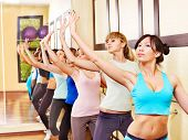 picture of ballet barre  - Women group in aerobics class - JPG