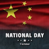 China National Holiday. China Flag Background With Yellow Stars And Red Color. Text: National Day poster