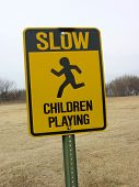Sign Slow Children Playing poster
