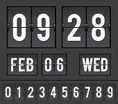 mechanical split-flap with flip numbers and alphabets for time and date