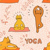 Cute cartoon cats practicing yoga pink seamless pattern, vector