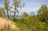Lake Michigan View From The Top Of The Dune At Jean Klock Park, Benton Harbor, Michigan