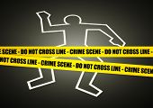 stock photo of accident victim  - Vector illustration of a police line on crime scene - JPG