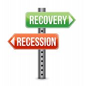 Recession And Recovery Road Sign
