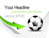Soccer ball background with net and arrow