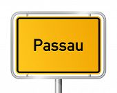 City limit sign Passau against white background - signage - Bavaria, Bayern, Germany