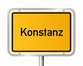 City limit sign Konstanz against white background - signage Constance - Baden Wuerttemberg, Baden Wu