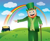 stock photo of end rainbow  - A leprechaun leading you to his pot of gold at the end of the rainbow - JPG