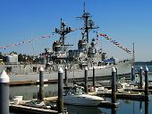 Military Destroyer And Smaller Boats