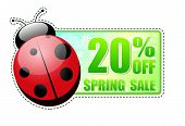20 Percentages Off Spring Sale Green Label With Ladybird