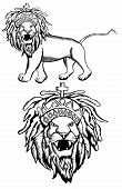 picture of rastaman  - This is a  Rastafarian Lion of Judah illustration - JPG