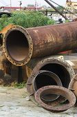 pic of junk-yard  - Junk yard with the old metal pipes - JPG