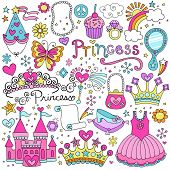stock photo of superstars  - Princess Ballerina Tiara Groovy Fairy Tale Notebook Doodles Set with Tutu Dress - JPG