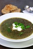 Green lentil soup with watercress, with crusty toasted bread.