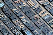 stock photo of lithographic  - Big collection of old retro lithograph letters - JPG